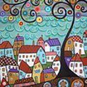 Village By The Sea Art Print by Karla Gerard