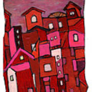 Village In Pink Art Print