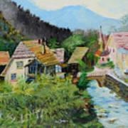 Village In The Austrian Alps Art Print