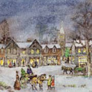 Village Street In The Snow Art Print by Stanley Cooke