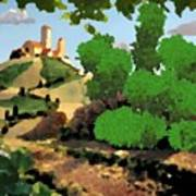 Village. Tower On The Hill Art Print