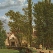 Villagers And Animals In A Landscape Beside A Bridge At The Entrance Of A Village Art Print