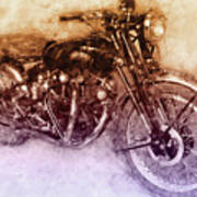 Vincent Black Shadow 2 - Standard Motorcycle - 1948 - Motorcycle Poster - Automotive Art Art Print