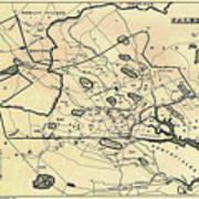 Vintage 1692 Map Of Salem Massachusetts - 1866 Art Print