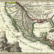 vintage 1810 map of mexico texas and california poster