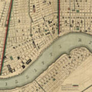 Vintage 1840s Map Of New Orleans Art Print