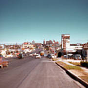 Vintage 1950s View Of Congress Avenue Looking North From South Congress To The Capitol Art Print