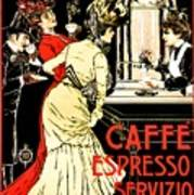 Vintage Antique Italian Coffeehouse Advertising Art Print