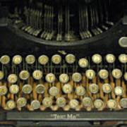 Vintage Antique Typewriter - Text Me - Antique Typewriter Keys Print Black And Gold Art Print