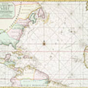 Vintage Atlantic Ocean And North America Map - 1700s Poster by ...