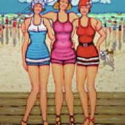 Vintage Beach Scene - Holiday At The Seashore Art Print