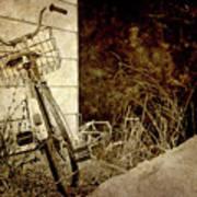 Vintage Bicycle In Winter. Art Print