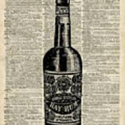 Vintage Bottle Of Rum Over Antique Book Page Art Print