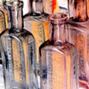 Vintage Bottles At A Flea Market Neg Art Print