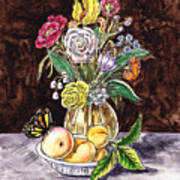 Vintage Bouquet With Fruits And Butterfly  Art Print