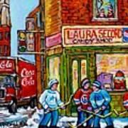 Vintage Candy Store Classic Coca Cola Truck Winter Scene Hockey Art Canadian Art Carole Spandau      Art Print