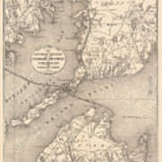Vintage Cape Cod Old Colony Line Map  Art Print