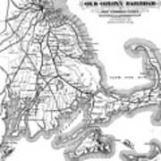 Vintage Cape Cod Old Colony Railroad Map Art Print