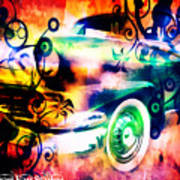 Vintage Car 1 Neons Edition Art Print
