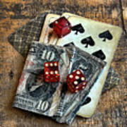 Vintage Cards Dice And Cash Art Print