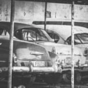 Vintage Cars At Night Bw Art Print