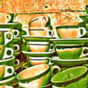 Vintage Cellar Tea Cups Painterly Art Print