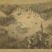Vintage Central Park Entrance Illusration - 1865 Art Print