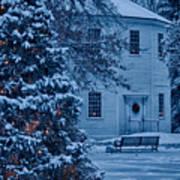 Vintage Christmas Church In Vermont Art Print