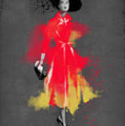 Vintage Coat Dress - By Diana Van Art Print