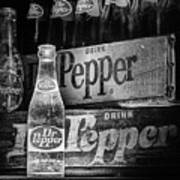 Vintage Dr Pepper In Black And White Art Print