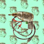 Vintage Drill Motor Green Trigger Pattern Art Print