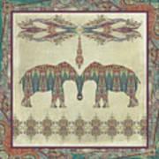 Vintage Elephants Kashmir Paisley Shawl Pattern Artwork Art Print