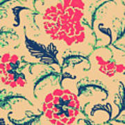 Vintage Flower Design Art Print