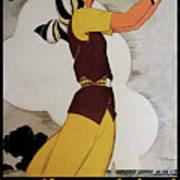 Vintage French Art Deco Woman Golfer, Flapper Woman Golfing Art Print