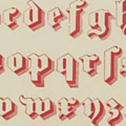 Vintage Gothic Font Red Art Print