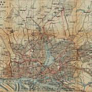 Vintage Hamburg Railway Map - 1910 Art Print