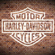 Vintage Harley Davidson Logo Painted On Old Brick Wall Art Print