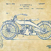 Vintage Harley-davidson Motorcycle 1924 Patent Artwork Art Print