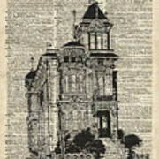 Vintage House Over Dictionary Page Art Print