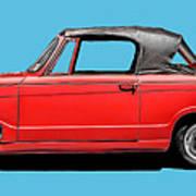 Vintage Italian Automobile Red Tee Art Print