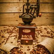 Vintage Manual Grinder And Coffee Beans Art Print