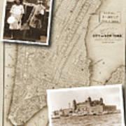 Vintage Map Ellis Island Immigrants Art Print