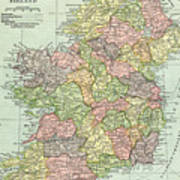 Map Of Ireland Poster.Vintage Map Ireland Photograph By Digital Art Cafe