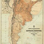 Vintage Map Of Argentina - 1882 Art Print