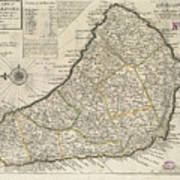 Vintage Map Of Barbados - 1736 Art Print
