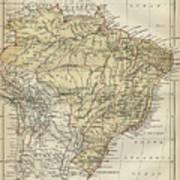 Vintage Map Of Brazil - 1889 Art Print
