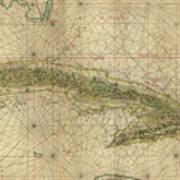 Vintage Map Of Cuba - 1639 Art Print