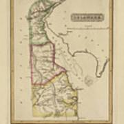 Antique Map Of Delaware Art Print