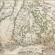 Vintage Map Of Finland - 1740s Art Print