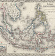 Vintage Map Of Indonesia And The Philippines Art Print